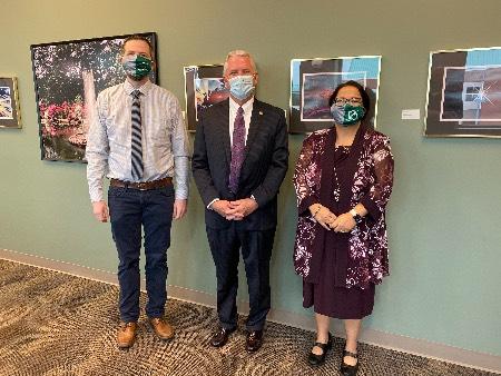 From Left: Dr. Spence Pilcher, NSU President Steve Turner, Dr. Sapna Das Bradoo