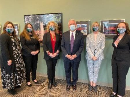 From Left: Dr. Sarah Ramsey, Dr. Meagan Moreland, Dr. Jericho Hobson, NSU President Steve Turner, Anne Heine & Amber Quammen